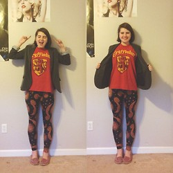 Nora B - See You Monday Sun And Moon Leggings, Target Flats, Forever 21 Gray Blazer, Hot Topic Gryffindor Tee - A Pensive full of Unrequited Love- The Mudbloods