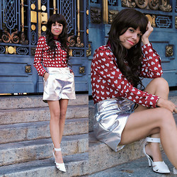 Priscila Diniz - White Heart Pattern Red Chiffon Shirt, Metalic Shorts, White Sandals (Similar) - I can give you my heart if you take care