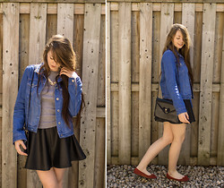 Rebecca Jacobs - Topshop Denim Jacket, Thrifted Bag, Thrifted Red Shoes - Blue Jean
