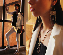 Lidia Zuin - Mota.H Ethnic Earrings, Mystic Accessories Necklace, Romwe Black And White Wallet, Tuli Black Top, Romwe White Blazer, Datelli White Sandals, Yck's White Pants - Every word a knife, every heartbeat a fire