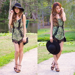 Debbie K - Honey Peaches Black Floppy Hat, Charlotte Russe Heels, Honey Peaches Houndstooth Bag, Honey Peaches Green Playsuit With Lace, Forever New Black Skinny Belt - Green with Envy