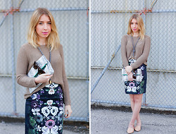 Kaylee Giffin - H&M Jumper, H&M Pencil Skirt - Bold Blooms