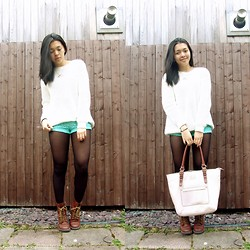 Mariz - Forever 21 Sweater, Forever 21 Crochet Shorts, Kenneth Cole Bag - Knits and Crochet