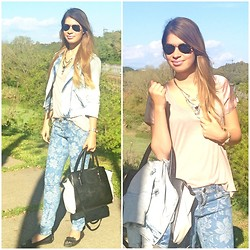 Lisa Maria K - Forever 21 Jeans, Bershka Jacket, Accessorize Bag - Flower Jeans