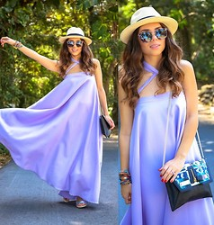 Daniela Ramirez - Furor Moda Skirt Worn As Dress, Vitamin A Hat, Sole Society Shoes, Danielle Nicole Bag - Lavender...