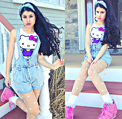 Kiahra ♡ - Forever 21 Hello Kitty Croptop, Kendall And Kylie Button Down Overalls, Forever 21 Daisy Polka Dot Tights, American Apparel White Girly Lace Socks, Ash Pink Wedge Sneaker - Can't buy my heart in a Vending Machine ♡