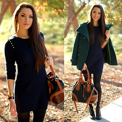 Jessica R. - Melie Bianco Brown And Black Hobo Bag, Juicy Couture Blue Sweater Dress, Thread And Supply Green Peacoat - Toasty