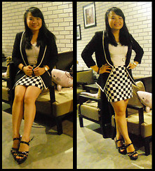 B T - Forever 21 Black Blazer Vest, By My Sweet Mom Checker Skirt, White Top, Black Wedges, Rolex Watch - BLACK AND WHITE FOREVER.