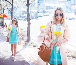 Olga Choi - Wal G Dress, Chic Wish Necklace, Forever 21 Belt, Zerouv Glasses, Toywatch Watch - Minty spring