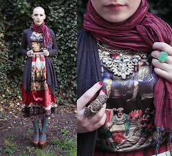 Karolina Koblenova - Sheinside Renaissance Print Dress, Lindex Baroque Necklace, Gate Full Finger Ring, Vintage Underskirt, Thrifted Casual Cardigan, Thrifted Shawl, Thrifted T Strap Platforms - Rhiannon