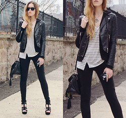 Lauren Schoonover - H&M Faux Leather Biker Jacket, Ralph Lauren Hooded Zip Up Sweater, Bella Luxx Twist Seam Striped V Neck Tee, Shoe Cult Amplify Platform Sandals - Outfit 198