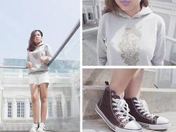 Fhenny Z - Distincut Unicorn Sweater, Pull & Bear Ombre Shorts, H&M Brown Sneakers, H&M Black Beanie - Pardon my swag