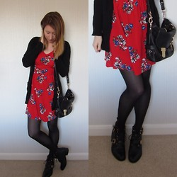 Emily L - New Look Floral Dress, Warehouse Wool Cardigan, Office Ankle Boots - Coffee?