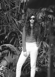 Emily Lane - T By Alexander Want Cropped Breton Stripe Sweater, Joe Fresh Thin Plaid Trouser, Warby Parker Green Keyhole Sunglasses - Checks and Stripes
