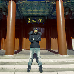 War Julian - Lanvin Sunglasses, Thrifted! Jacket With Fur Sleeves/Hood, Acne Studios Corduroy Pants, Givenchy Leather Sneakers - Inside the Forbidden City