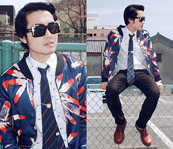 KIKO CAGAYAT - Céline Tie, Christian Dior Unfixed Tie Bar, Uniqlo Bird Print Button Down Shirt, Uniqlo Legging Pants, Navy Cherry Laced Shoes, Choies Men's Feahter Print Bomber Jacket, Choies Square Sunglasses With Filigree Corner Detail - Celine Dior