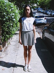Meilun Yan - Topshop Necklace, Forever 21 Houndstooth Skirt, Forever 21 Black And White Top, Windsor Smith Lily Shoes - MYSTIC