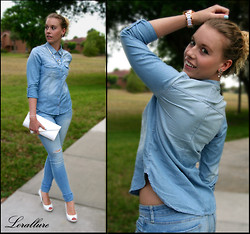 Laurie Lorallure - Michael Kors Watch, Aldo Clutch, Nine West Shoes, Abercrombie & Fitch Shirt, Abercrombie & Fitch Jeans - DENIM ON DENIM