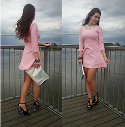 Patricia C. - Zara Dress, Melissa Shoes, Stradivarius Clutch - Pink And Simple For The First Time