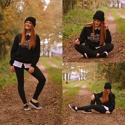 Lea Feicks - Reason Homies Pullover, American Eagle Leggins, Vans, Forever 21 Blouse, Asos Beanie - Colourful Autumn