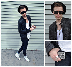 Dakota J. - Urban Outfitters Geometric Iphone 5 Case, American Apparel Oversized T Shirt, H&M Leather Jacket, Asos Double Coin Necklace, Converse White Chuck Taylor's, Levi's® 510 Skinny Jeans, Asos Aviator Sunglasses, Forever 21 Pork Pie Hat - // IN TRANSIT