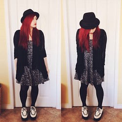 Jade Narcelles - H&M Fedora Hat, Black Cardigan, Urban Outfitters Floral Dress, Creepers - Ocean of Apathy