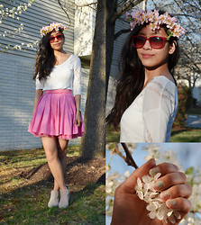 Julie Benitez - Adrienne Vitadini Pink Sunnies, Sam Edelman Taupe Booties, Jamberry Flower Nail Stickers, Faux Cherry Blossom Crown (Handmade By Moi), Express White Sweater, Remain Pink Poofy Skirt - Cherry Blossom Festival