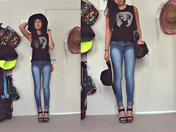 Jean YL - H&M Felt Sun Hat, T Bar Deer Graphic Muscle Tank, Nasty Gal Silver Dusted Platforms - Hats off
