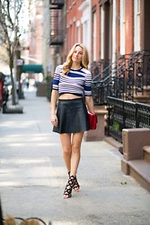 Lisa DiCicco Cahue - Sophia Webster Shoes, Love Leather Skirt, Céline Bag - Leather Skirt and Cropped top