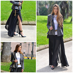 Fabrizia Spinelli - Mina Blazer, Zara Top, Bijou Brigitte Necklace, Hermës Belt, Saint Laurent Bag, Romwe Skirt, Guess? Shoes - Flattering Chiffon