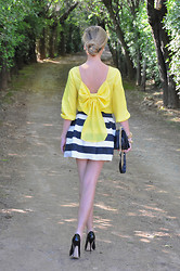 LOLA C - Sheinside Blouse, Choies Skirt, Persun Bag, Jimmy Choo Heels - Yellow