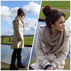 Layla D - Marks And Spencer Trench Coat, Scarf, New Look Boots - Outfit - Coat & Scarf