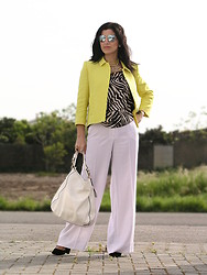 Teresa Leite - Zara Bright Yellow Blazer, Mango Zebra Print T Shirt, Tany Couture Self Made Wide Leg White Pants, Parfois Off White Bag, Mango Yellow Tribal Necklace, Massimo Dutti Silver Mirrored Aviators - Bright Yellow and Zebra Print
