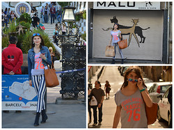 Cerasela Bortos - Sister's Point Striped Trousers, New Yorker Large T Shirt, Primark Bag, H&M Denim Jacket - Adventures in Spain