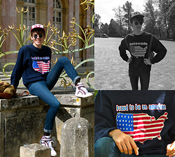 Dylan Valente - Kiloshop Vintage Sweat, Pierre Hardy Sneakers, 7 For All Mankind Skinny Jeans, Garrett Leight Sunglasses - Proud To Be An American