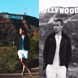 Colin Anderson - 3.1 Phillip Lim Leather Shorts, Zara Waist Jacket, Topman Leopard Loafers - Hollywood & Vine