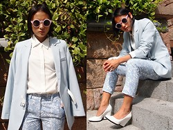 Rachel Eng - Feist Heist Teagan Blouse, Asos Trousers In Blue Floral Jacquard - Welcoming Spring