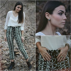 Madison Rae - Printed Trousers, Asos Sheer Blouse, Steve Madden Booties, Thrifted Vintage Rings - Far from the Glow of the City's Lights