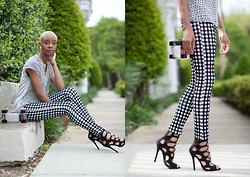 Blake Von D - Topshop Gingham Print Pants, Le Tote Sheer Top, Breckelle's Gladiator Sandals, Bijuju Boutique Lucite Box Clutch - Gingham Style!