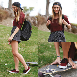 Madeline Becker - Herschel Polka Dot Backpack, Topshop Polka Dot Shorts, Airwalk Maroon Lace Ups, Brandy Melville Usa Maroon Sweater - POLKA DOTS AND LONGBOARDS