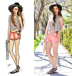 Shelly Stuckman - Forever 21 Cut Offs, Lucky Brand Gladiators, Charlotte Russe Crop, Forever 21 Mirrored Sunglasses - Orange Crush