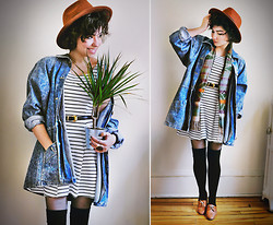 Sophia Mayrhofer - H&M Hat, Banggood Sleeveless Striped Dress, Thrifted Leather Belt, H&M Over The Knees, Borrowed From My Roommate Oversized Acid Wash Denim, Thrifted Aztec Print Scarf, Fleamarket In Germany Leather Lace Up Brogues - Another season, another reason