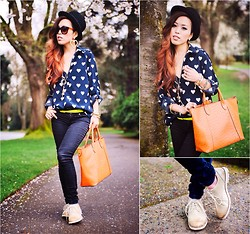 Aika Y - Nowistyle Heart Printed Shirt, Cat Footwear Oxford Shoes, Old Navy Skinny Jenas, Aldo Hat, Justfab Orange Tote Bag, Gap Sunglasses - Relaxing Oxford