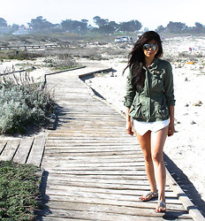 Nae Mon - River Island Army Jacket, Zara Skort, Shoemint Golden Sandals, Ray Ban Aviators - Walk that board