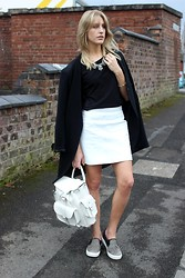 Charlotte Lewis - Another8 London White Leather Skirt, Bronx Pony Slip On Trainers, Grafea White Leather Rucksack, Persun Longline Blazer - White Leather Skirt & Grafea Rucksack