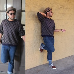 Dom Baza - Robert Stock Vintage Sweater, Merona Hat, Levi's® Levis 501 Jeans, Calvin Klein Socks, H&M Shoes - Chillin With You