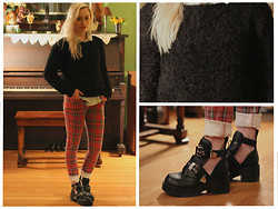 Kaitlin - H&M Fuzzy Sweater, Tripp Nyc Plaid Pants, Spring Coltrane Lookalikes, Denim Shirt - Eyelash Sweater for Winter