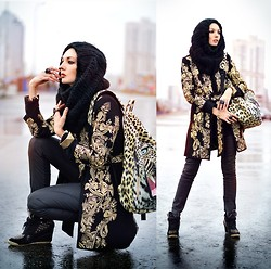 Lena Tsoon - Choies Coat, Breaking Rocks Backpack - Baroque every day
