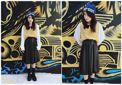Reg Panlilio - Factorie Beanie, Valley Girl Peter Pan Collar Top, Temt Pleather Skirt - Dropout School Girl