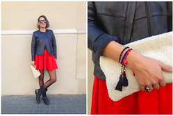 Isabella Pozzi - Mono&Me Bracelets, H&M Mini Skirt - Romantic Volumes Meets Tailored Leather